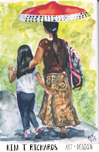 A mother and daughter walking home on the first day of school. September 2015.