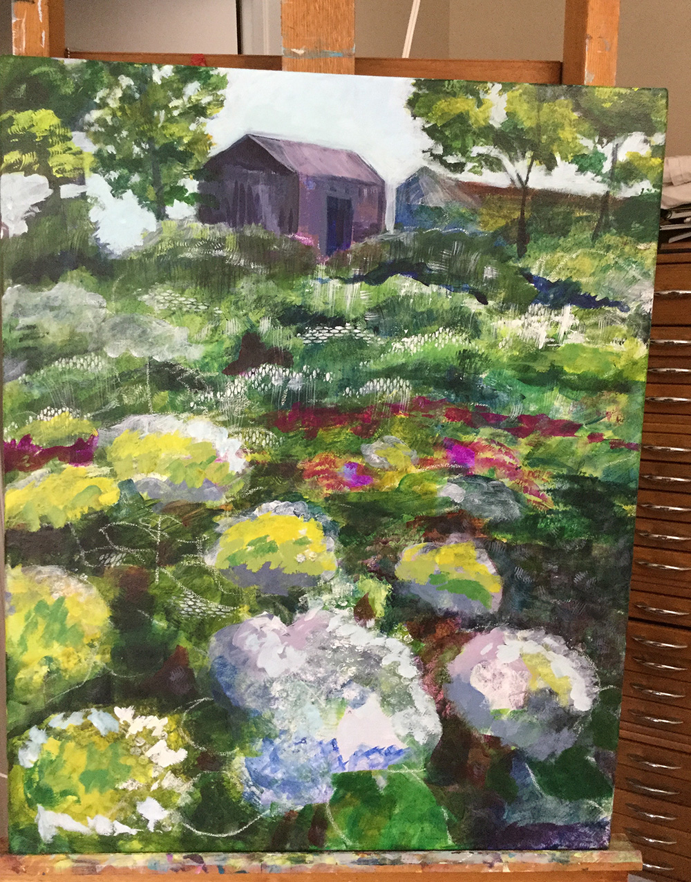 "Day two on the easel for ""An Unexpected Treasure."""