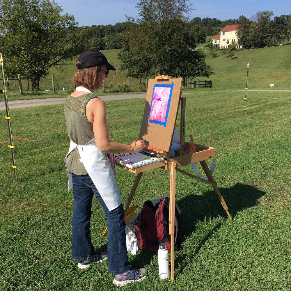 Painting outdoors at Three Fox Vineyard in Deplane, VA