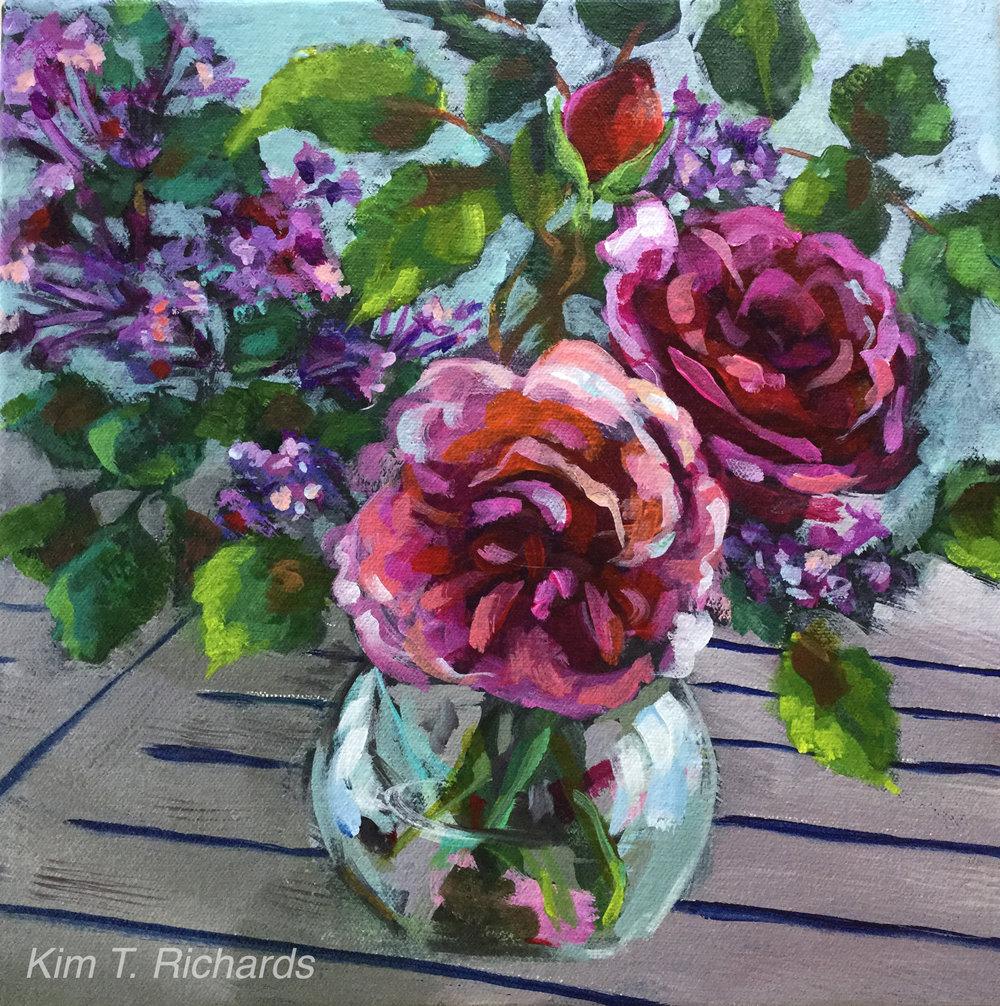 "Jackpot Roses - 12 x 12"" acrylic SOLD"