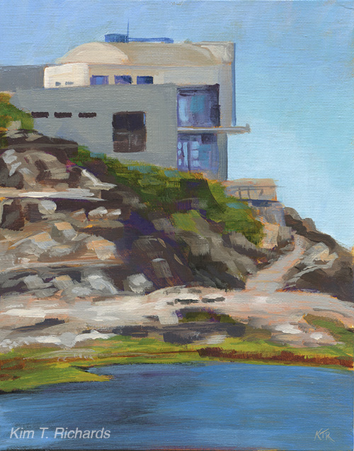 "The Cliff House  8x10"" acrylic on canvas panel $100 unframed"