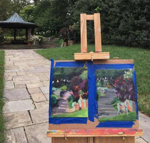 Working on two panels at the same time at Brookside Garden in Rockville, MD