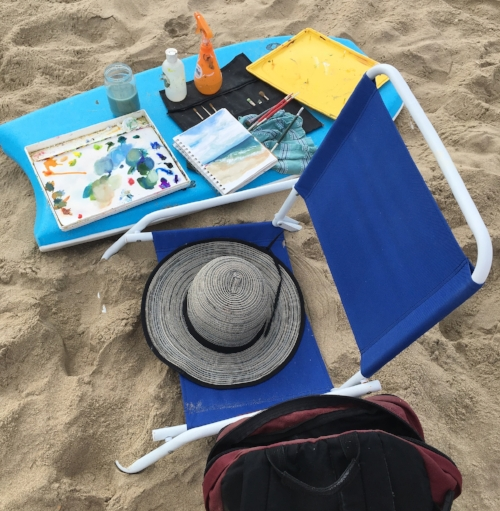 Painting outside requires thinking outside the box - in this case, my son's boogie board made a perfect taboret for my beach sketching.