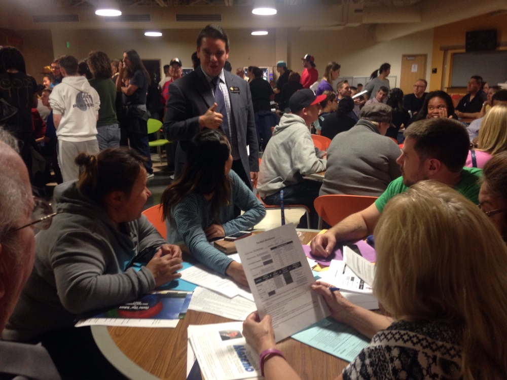 Commerce City voters doing democracy at the caucus.