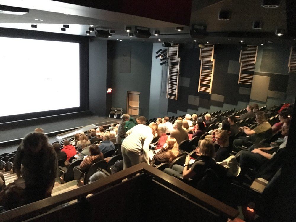 DOXA festival-goers starting to fill in the SFU theater at the Goldcorp Centre for the Arts for the international premiere.