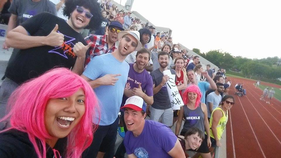 Andrew Carlsen (Top Left) sporting the afro wig, purple shades, and hustle shirt with the Atlanta Heckle