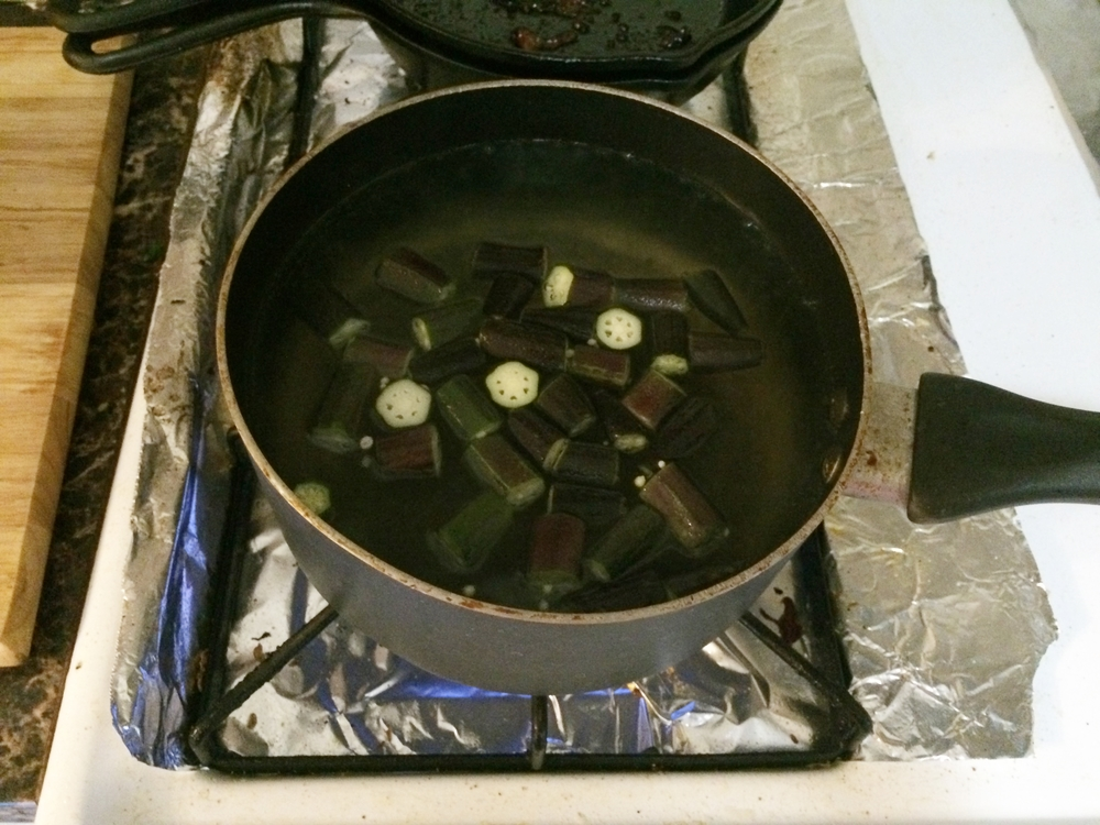 Bring Water to boil. Add okra. cook for 1 minute.