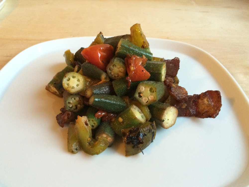 Cook the other components of your meal as usual and add the okra at the end.