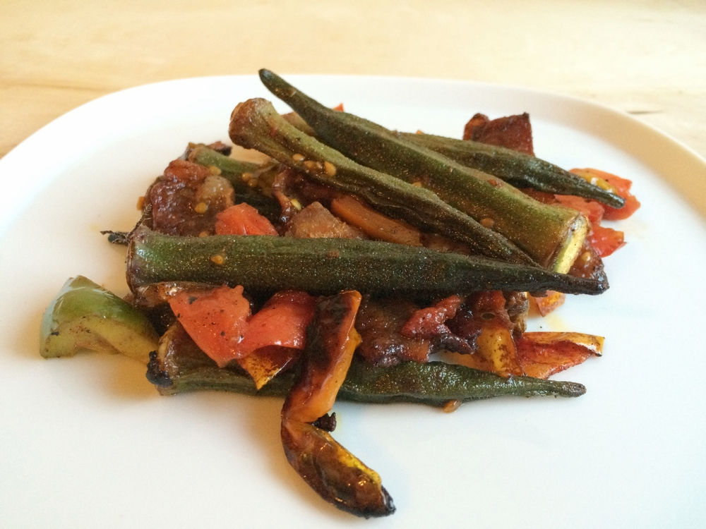 you could reserve the okra and add it to another recipes at the end, or serve as is.