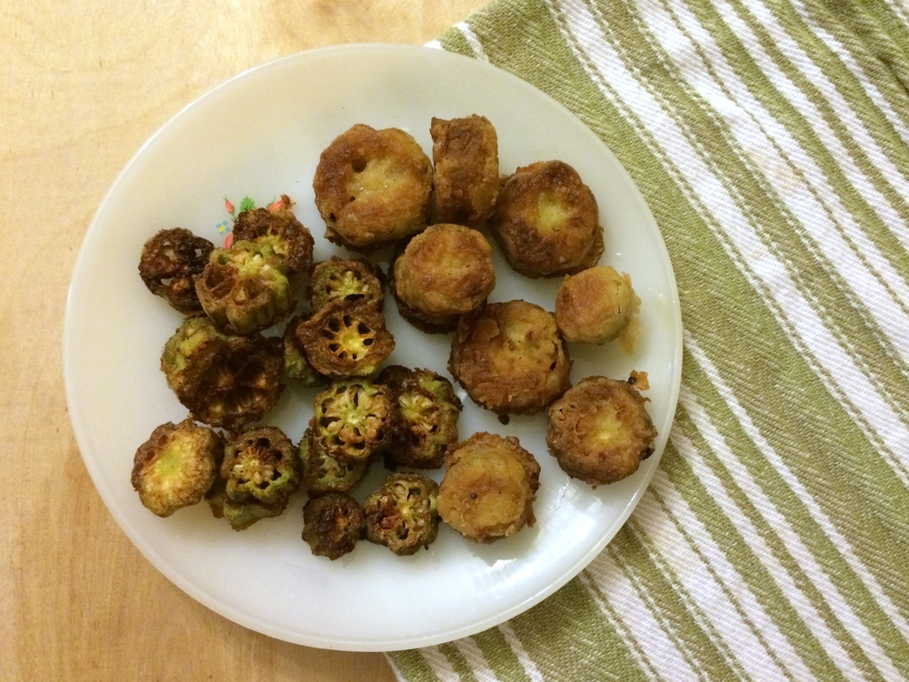 Add the soaked okra to your recipe as usual. I did half pan fried and the other half coated in flour and deep fried.