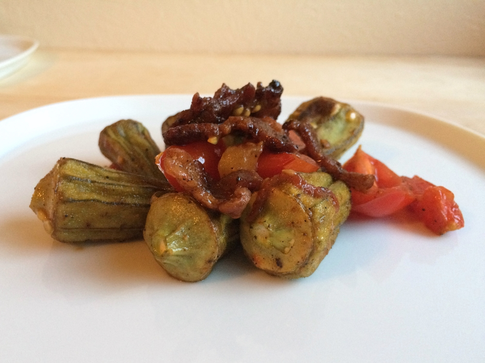 Serve roasted or add the pods to your recipe at the end. I tossed them with tomatoes, roasted bell peppers, homemade chipotle brown sugar bacon, and lemon juice.