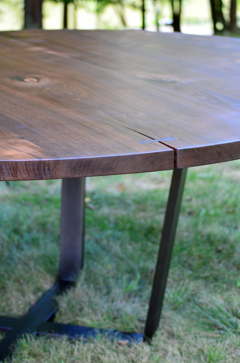 Walnut and Blackened Stainless Steel Dining Table