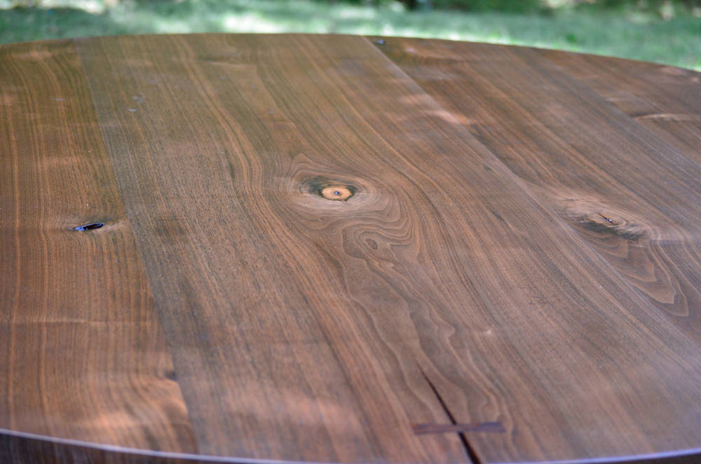 Walnut and Blackened Stainless Steel Dining Table (detail)