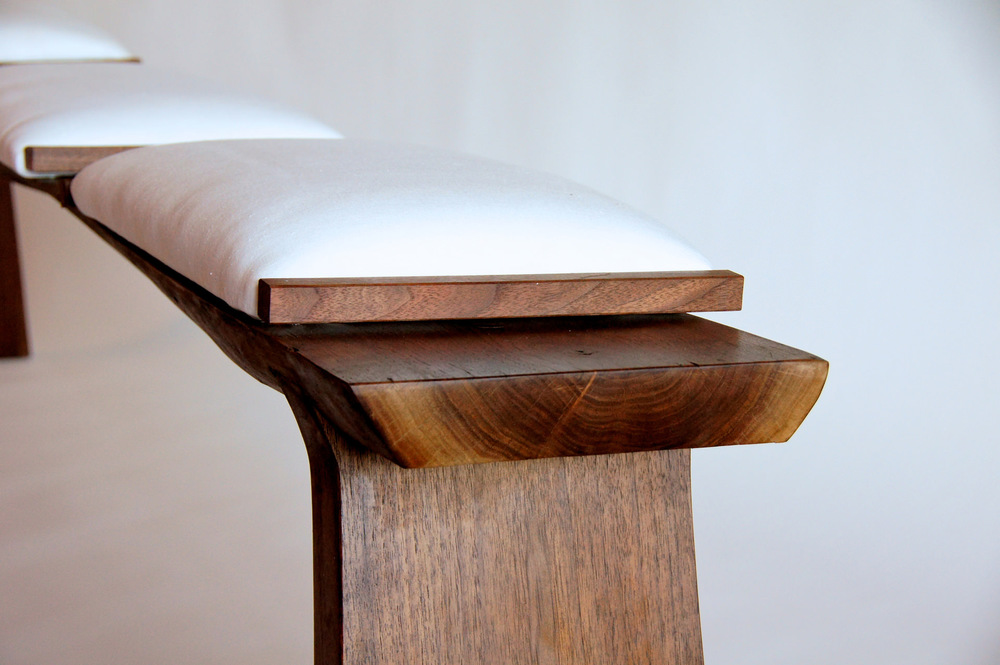 Walnut and Linen Bench