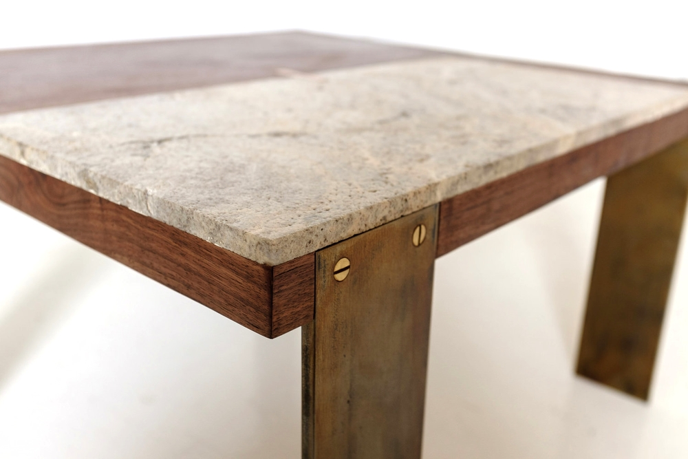 Walnut and Limestone Low Table