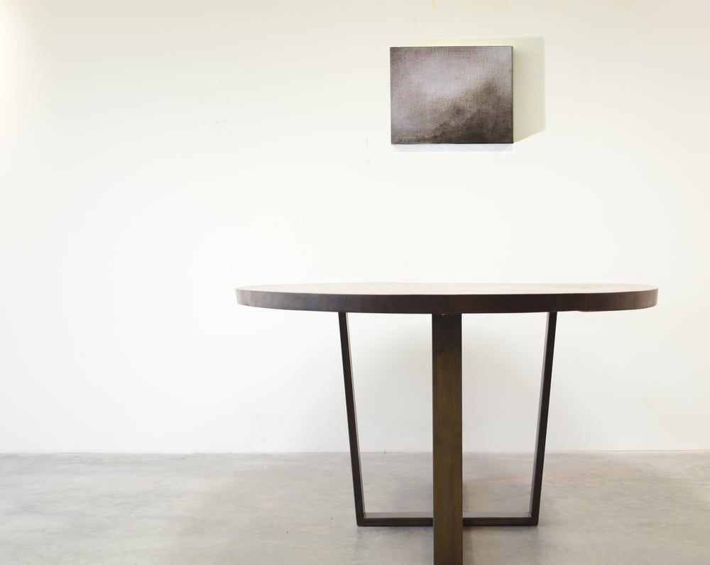 Walnut and Patinated Steel Ellipse Dining Table