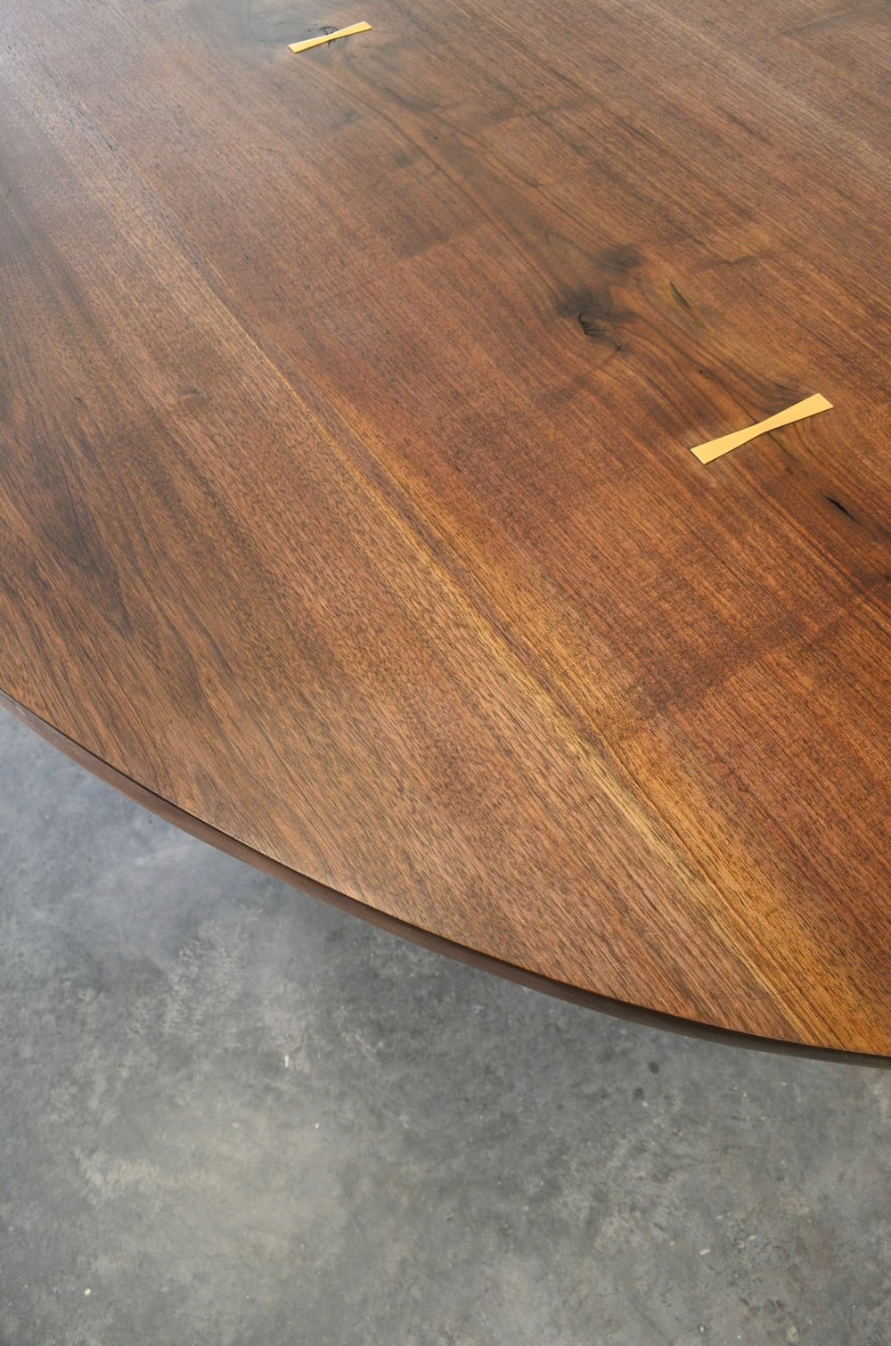 Walnut and Patinated Steel Ellipse Dining Table (detail)