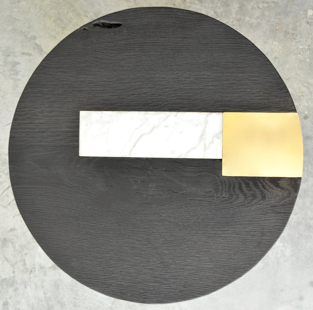 Charred Oak, Walnut, Brass and Marble Side Table