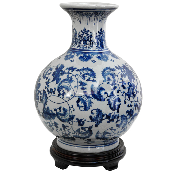 9 inch Round Blue and White Floral Vase
