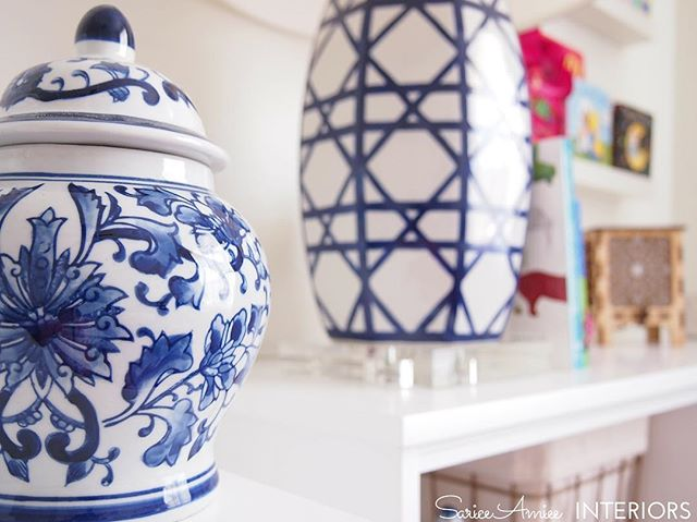 #blueandwhite goodness in the #nursery! See all sneak peek shots on the blog and full reveal next week! #blueandwhiteforever #zincdoor #chinoiserie #chinoiserienursery #colorshare #chinoiseriechic #edesign #homegoods #homegoodshappy #makehomeyours #nurserydecor #girlnursery #gingerjar