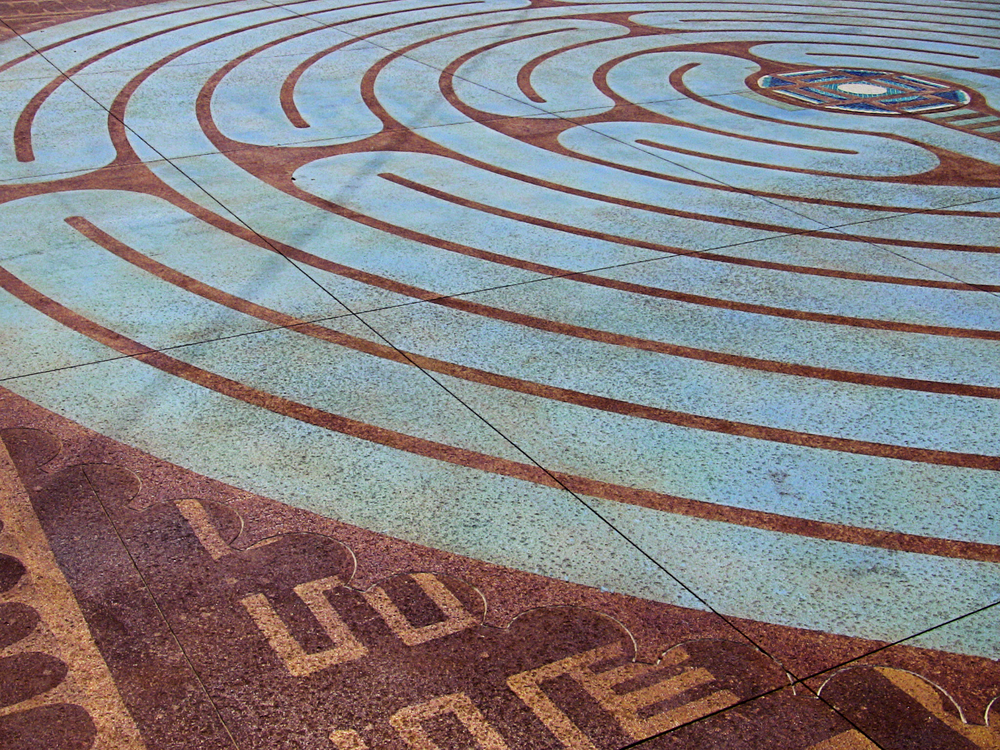 Close up of the AHA labyrinth showing mud cloth symbols.