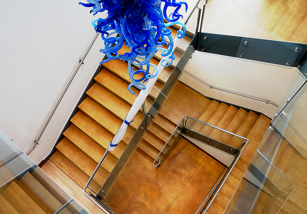 stained concrete staircase