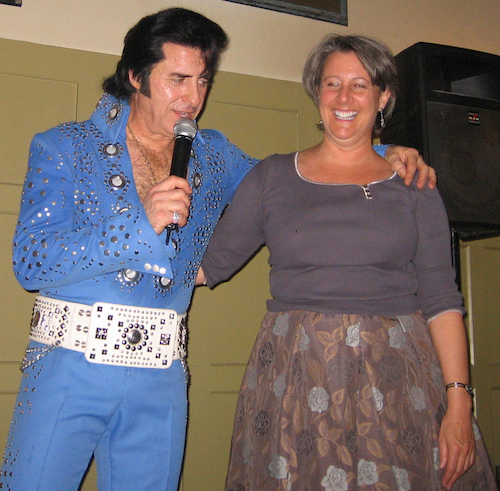 "Singing with ""Elvis"" in London."
