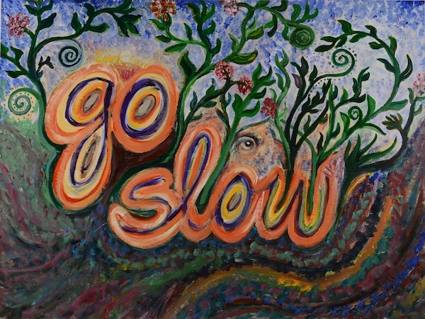 go slow, acrylic on paper, 2012