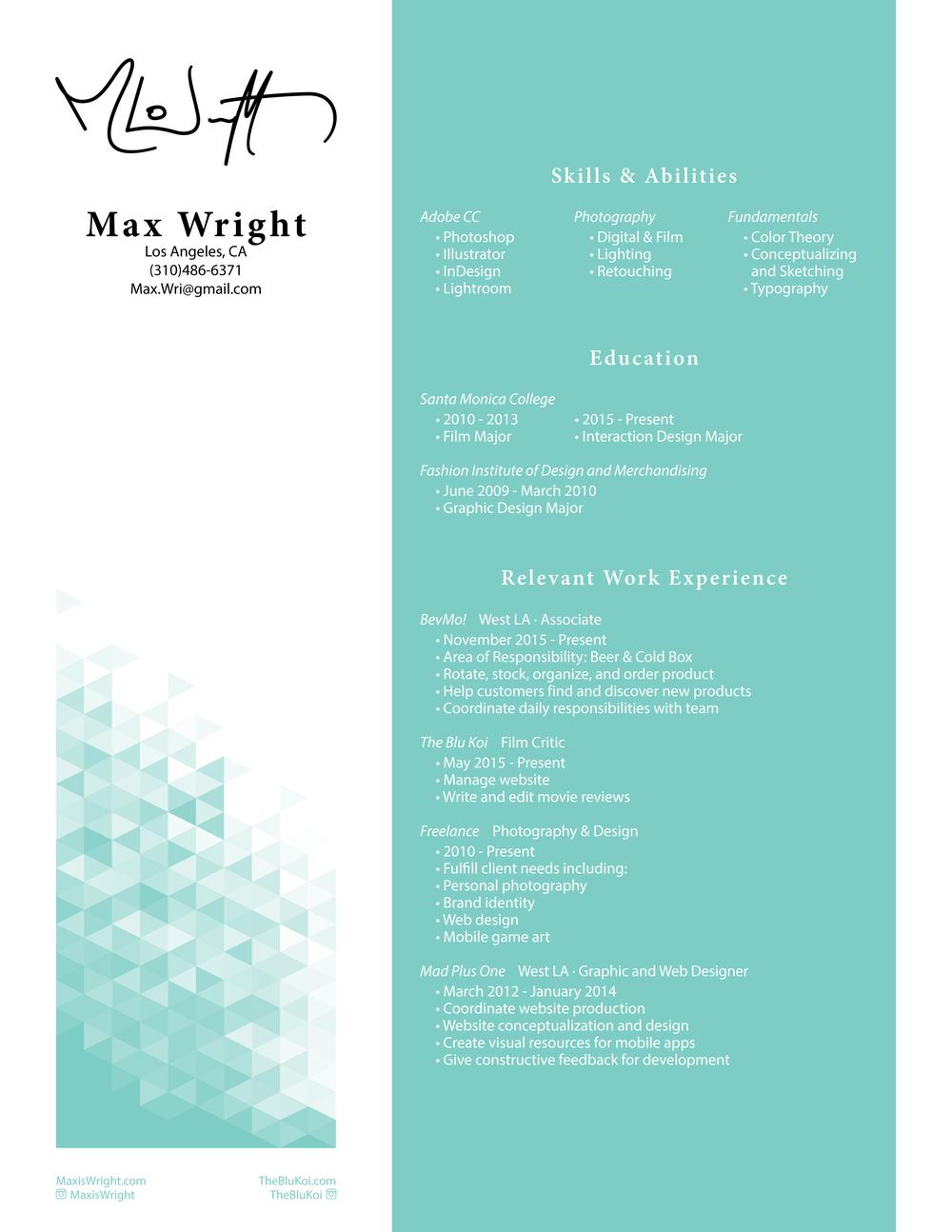 Max Wright (310)486-6371 Max.Wri@gmail.com