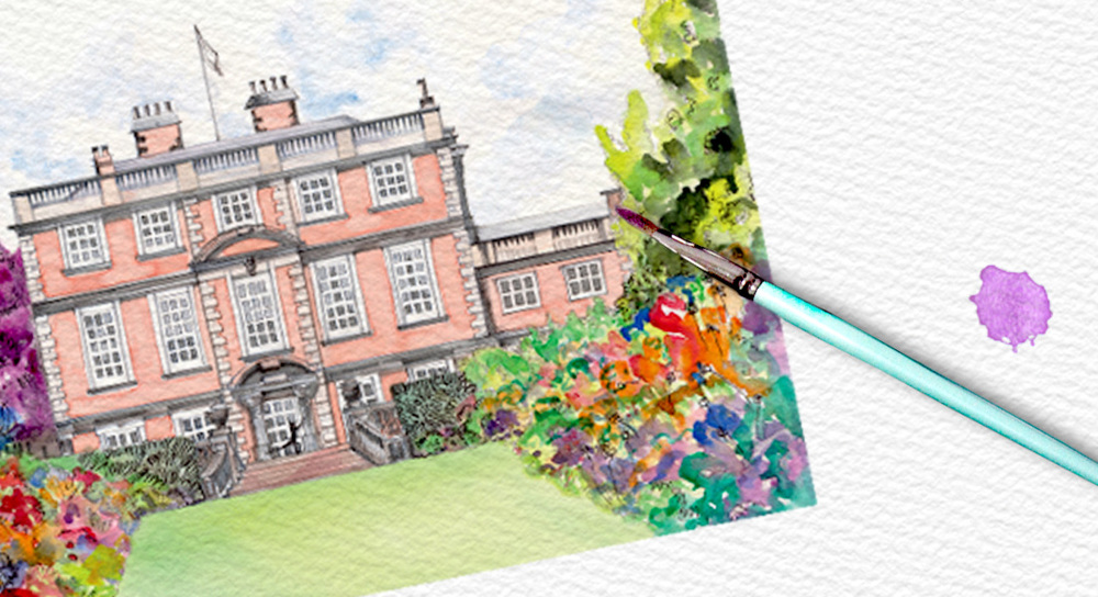 A very popular choice is to use a specially commissioned painting of your venue as the invitation design. A lovely keepsake of the event for your guests.