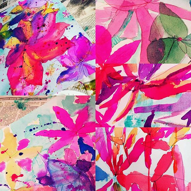 Warm colours workshop. Fabulous results inspired by gerbera's. Fun using vibrant inks. #afterschool #kids #rigbydesignhouse #abstract #harrogate #inks #fun #art🎨