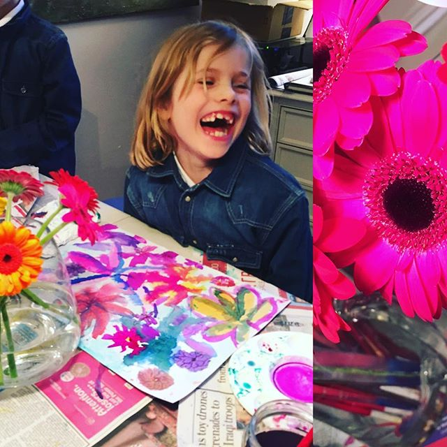Gerbera's colour workshop demonstrating Warm vs Cold colours. #kids #fun #art #inks #harrogate #abstract #rigbydesignhouse #afterschool