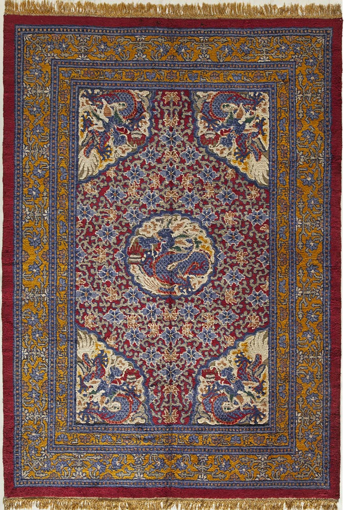 Silk and Metallic Thread Chinese Carpet_16060