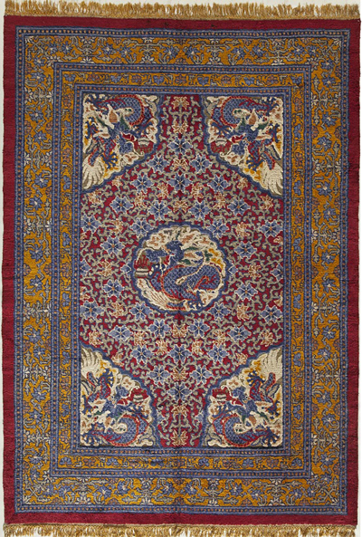 "Silk Chinese Carpet 8' 9"" x 6' 2"""