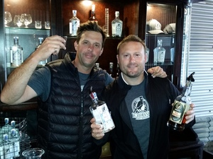 L to R: Joe BARton and Stephen KROener, master distillers / winemakers / two fun guys.