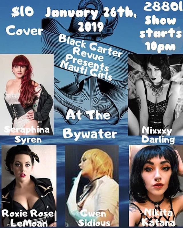 Mark you calendars! Next Saturday, January 26th, 10 P.M.  #Repost @blackgarterrevue • • • • • Ahoy mateys! Come sail away with us January 26th as #blackgarterrevue presents: Nauti Girls!  Hear the songs of the sea and get your toes in the metaphorical sand as we bring the ocean waves to @bywaterasheville in #ashevillenc 🐠 Hosted by the always fantastic @donno13  Performances by some of WNCs favorites: @roxie_rose_pinup - Producer of @sultrysirensavl  @gwensidious  @seraphinasyren  @nixxy_darling  @erintrixi who will be our lovely stage kitten for the evening! So come on out! Maybe we'll get your sea levels rising 😉This is an 21+ show! Doors open at 9, show starts at 10! 🐳 #ashevilleburlesque #asheville #thebywater #bgrburlesque #nixxxydarlingburlesque #gwensidious #roxieroselemoan #roxierosepinup #seraphinasyren #nikitakatana #keepashevilleweird #828isgreat #wnc #burlesquedancer #nauticaltheme #nautigirls #nauticalaesthetic #westernnorthcarolina #oceanvibes #burlesqueshow #burlyqlife
