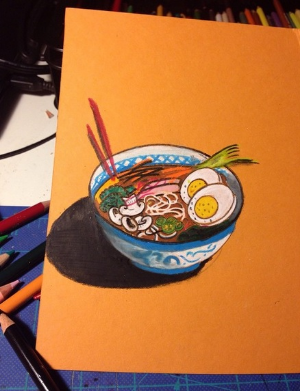 Progress work. Craig dreams of ramen. Colored pencil on orange mat board. #drawing #coloredpencil #pencil #sketch #artstagram #noodles #food #foodporn   A photo posted by Craig! (@breadczar) on May 17, 2015 at 9:45pm PDT