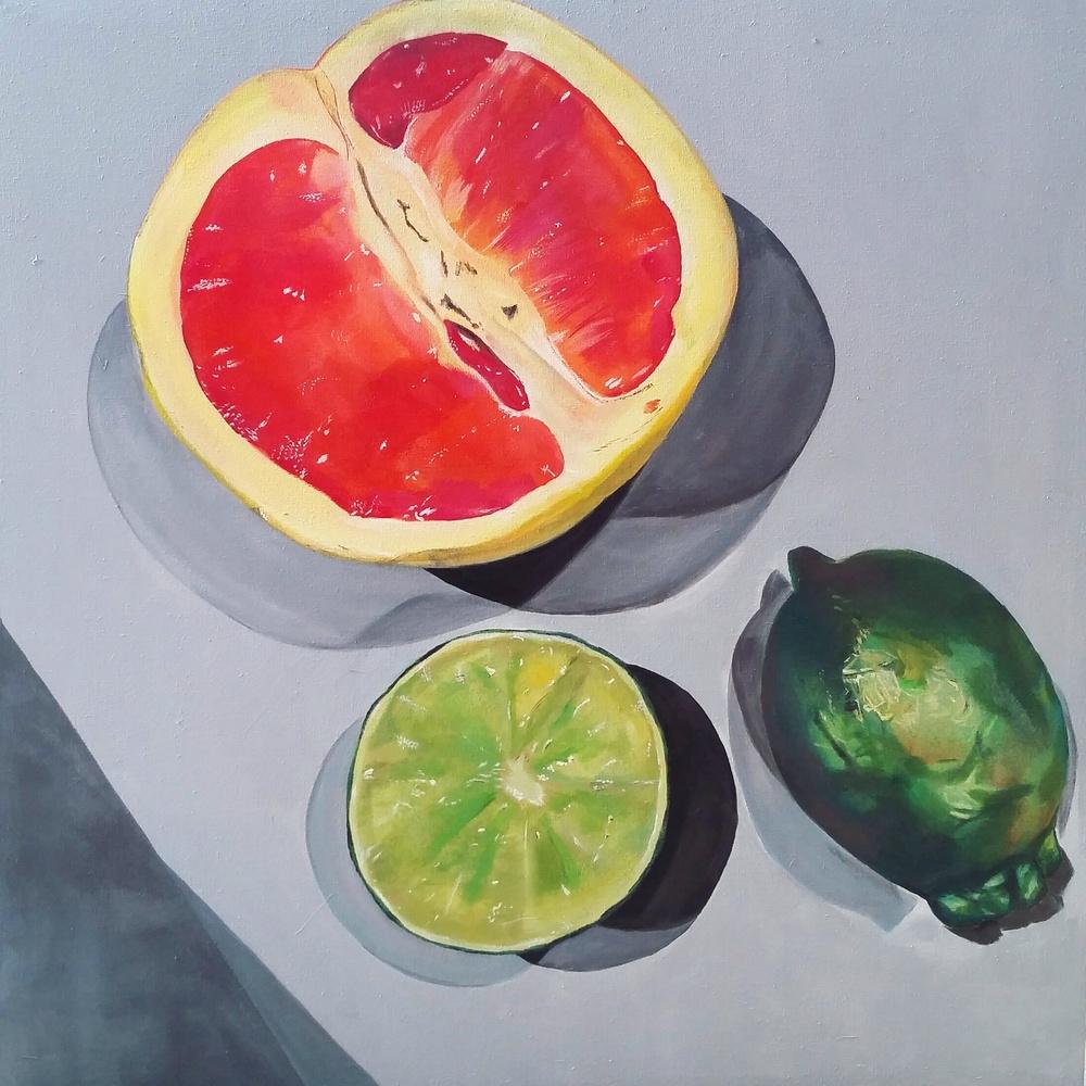 "*Frutas 42 x 42"" Acrylic on Canvas.  $2000"