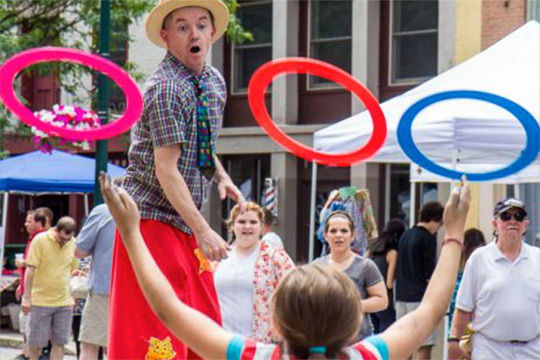 Seano Fagan of Circus Theatricks performs at 4:00 on Saturday May 6th