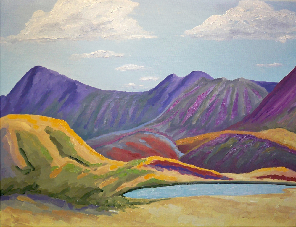 "Mountain Lake 1, oil on canvas, 24""x 18"", $650.00 + shipping"