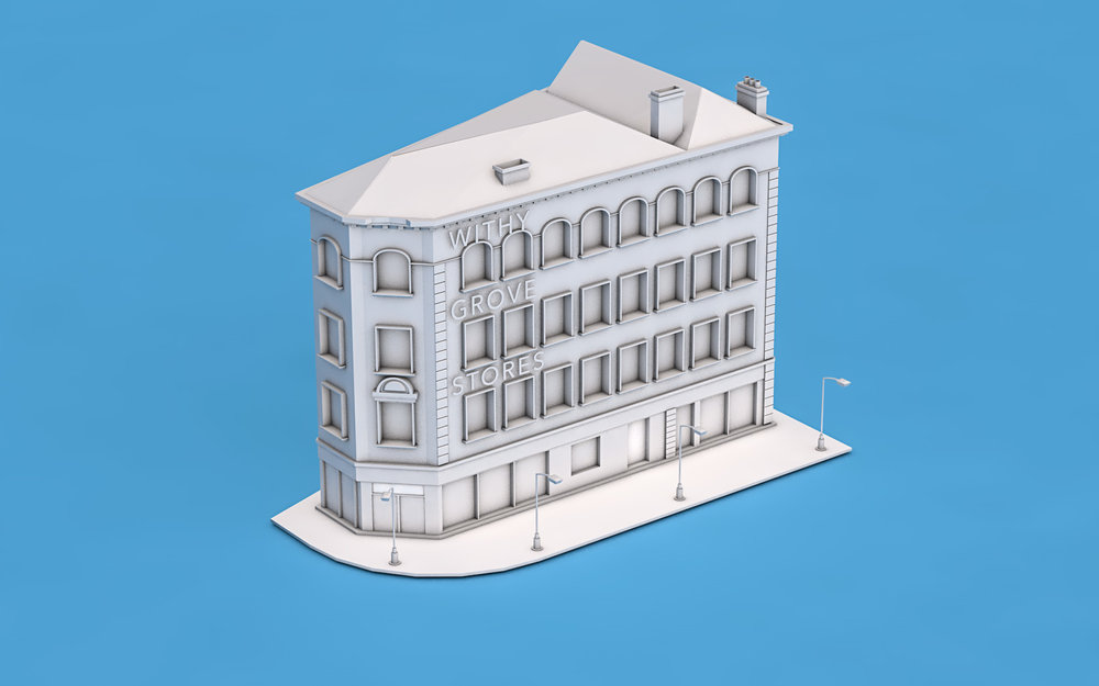 Low Poly model for Withy Grove Stores based in Manchester, Dantzic Street (Cinema 4D)