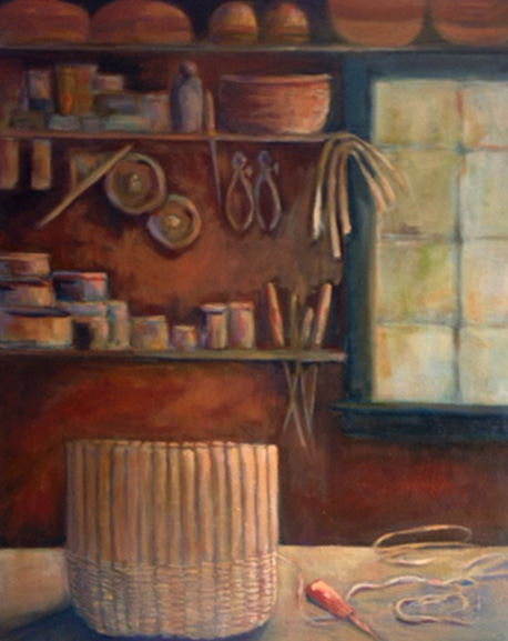 "Mannys Basket Shop (sold) 14"" x 18"""