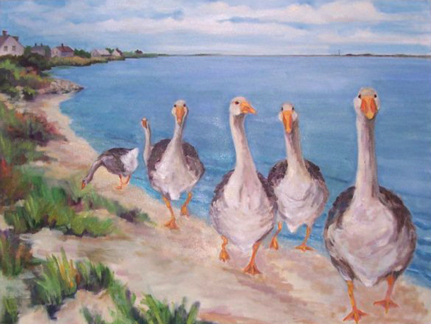 """Hummock Pond Geese (sold) 16"""" x 10"""""""