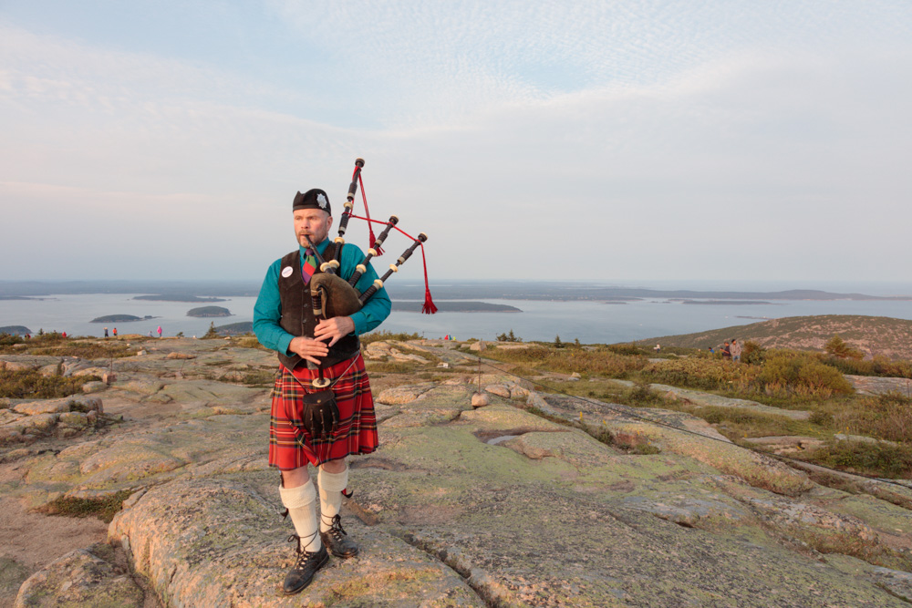 "Bagpipes on Cadillac Mountain. ""Piping for Bernie."" 2015. Canon 5DSr."
