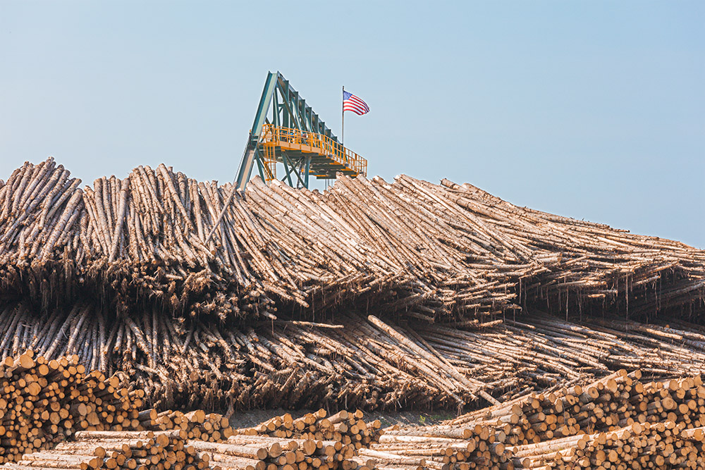 Lumber Yard and Flagged Crane. Dover-Foxcroft. Maine. 2015. Canon 5DSr.
