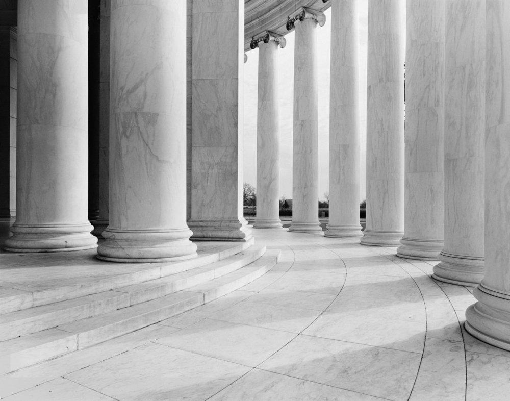 Jefferson Memorial. Washington DC. 1987. 4x5 black and white negative.