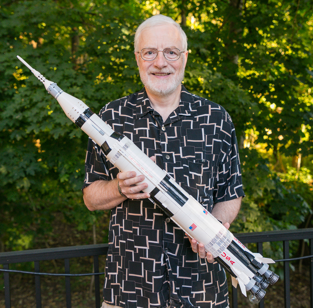 My Oregon trip companion Stuart Worley with a Lego model of the Apollo/Saturn V his brother helped build. 2017. Canon 5DSr.