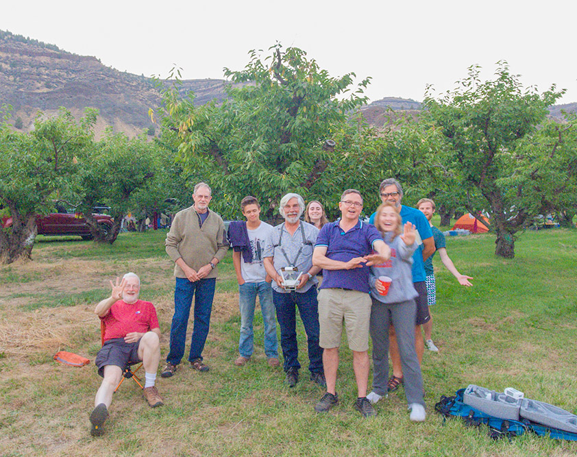A few folks from the Workshop taken by my drone with some guests and a young drop in. About 12 feet up. Azure Orchard, Oregon. 2017. DJi Phantom 4 Drone..