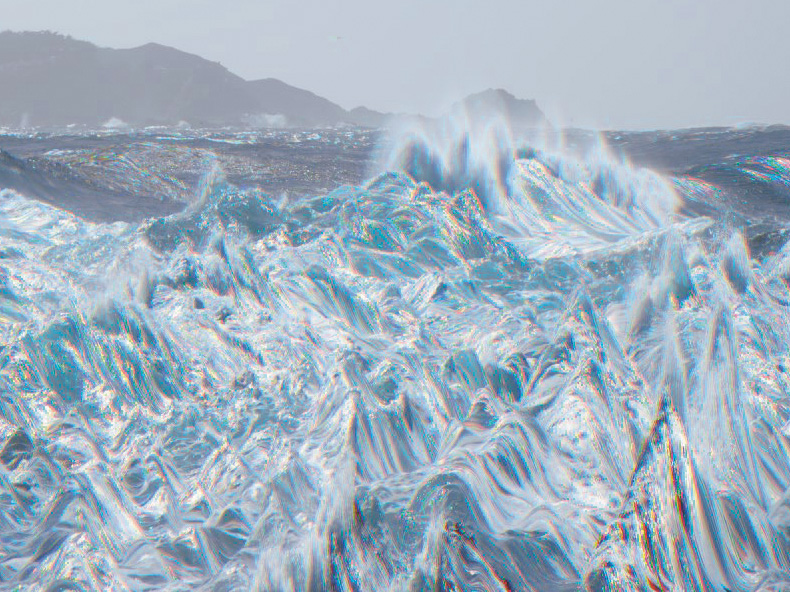 Wildly Distorted Surf Rendered by Scanning Camera, CA. 1994. BetterLight Scanning Back.