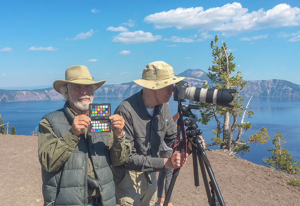 Steve and Dan at Crater Lake with ColorChecker Passport. 2017. Canon EOS 5DS R